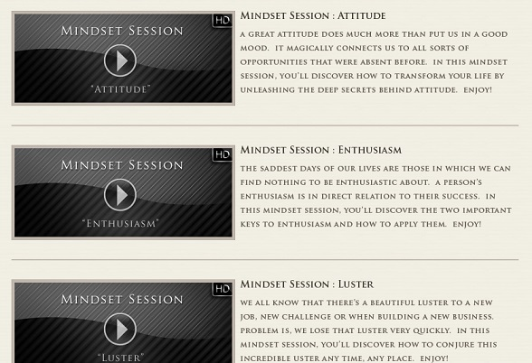 The Mindset videos of the Millionaire Society