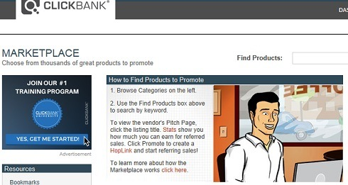 What the Clickbank Marketplace looks like