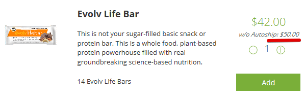 The Costs of the Evolv health Life Bar