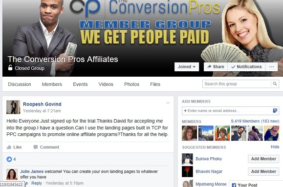The Facebook support group of the Conversion pros