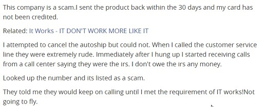 It Works customer complaints 2