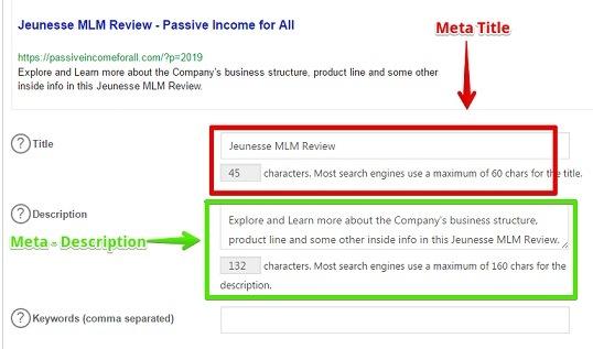 Meta Description goes in WordPress