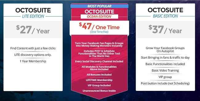 The membership options of Octosuite