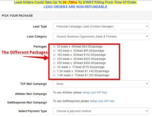 What the different packages of leads are within TCP