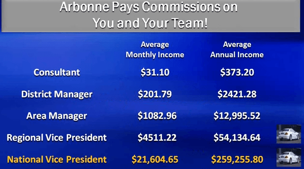 The various manager levels in the arbonne business