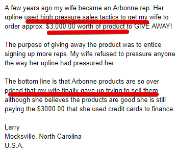 Arbonne customer complaints- pressurized into selling products