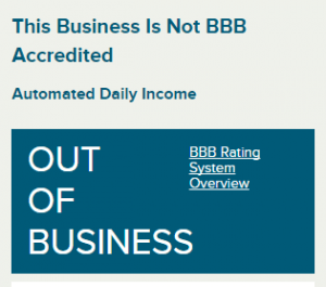 No history of Automated Daily Income with BBB