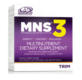 The Advocare MNS 3 Multinutrient dietary supplement
