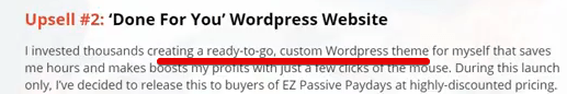 EZ Passive paydays is a scam with their upsells
