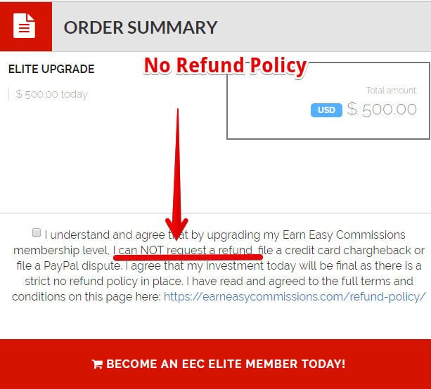 Easy earn commissions is a scam- no refund policy