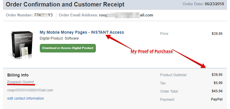 proof that I did purchase my mobile money pages