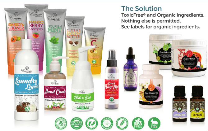Essante Organics products catalog