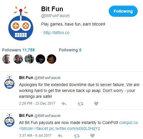 The Bit Fun twitter page shows no activity