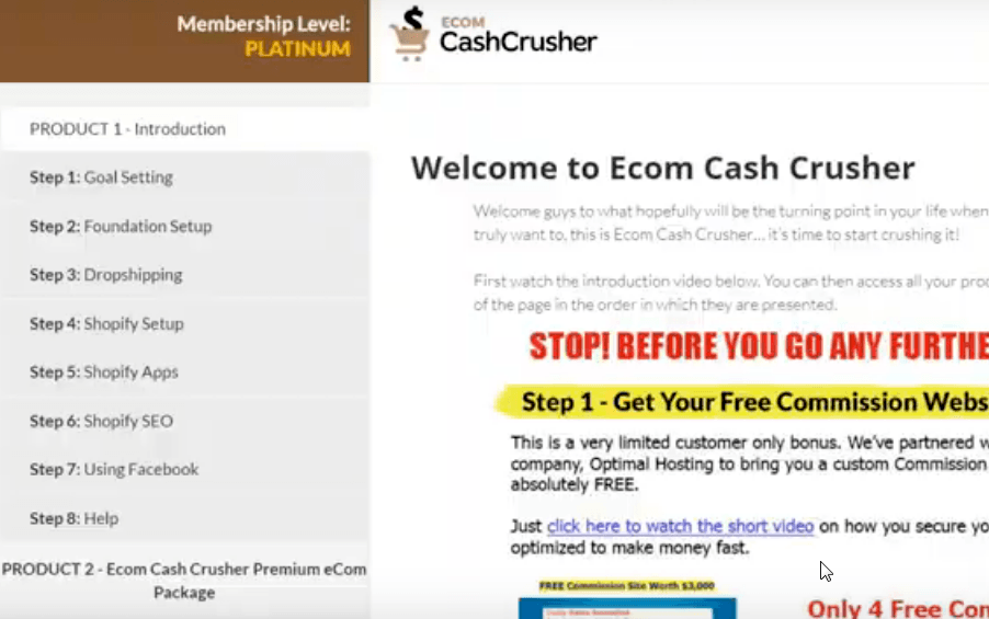 Ecom Cash Crusher the members area