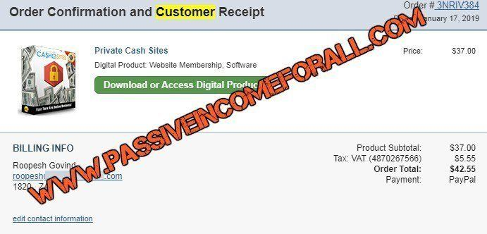 Private Cash Sites the PROOF that I bought it