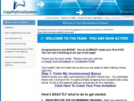 Instant Email Empire Inside the members area