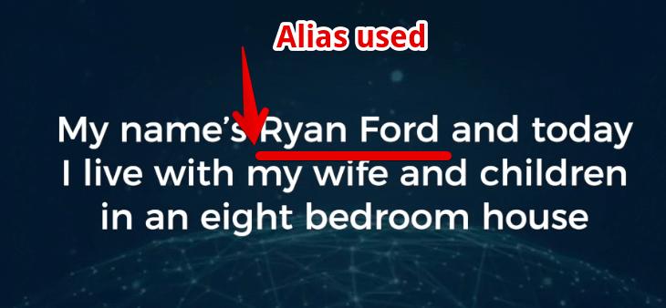 AZ millionaire is a scam used an alias Ryan Ford