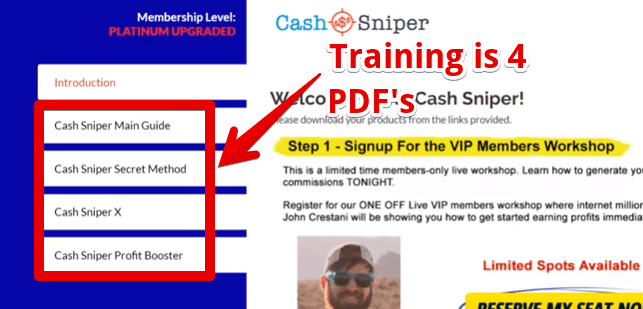 Cash Sniper Review what is the members area all about
