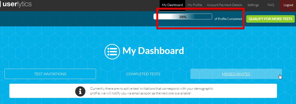 Userlytics review what the dashboard of Userlytics looks like