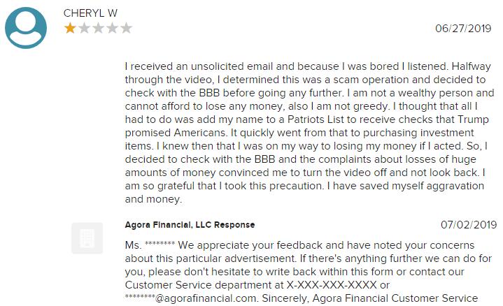 cash for patriots program customer complaints