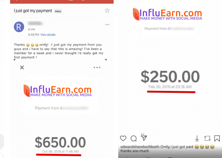 Influearn is a scam fake payment proof