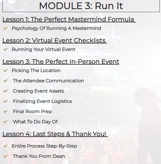 The Knowledge Business Blueprint Course Layout the third module called run it.