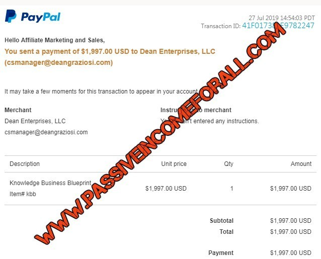 KBB Course proof of payment