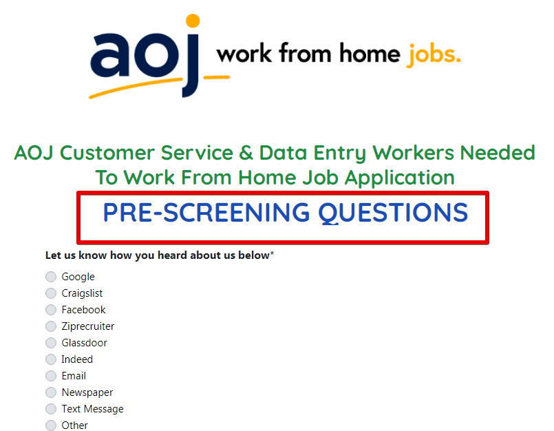 Aoj Work from Home Jobs review how does the screening process work