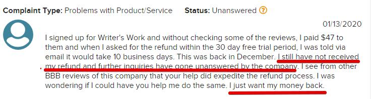 Writers. work customer complaints
