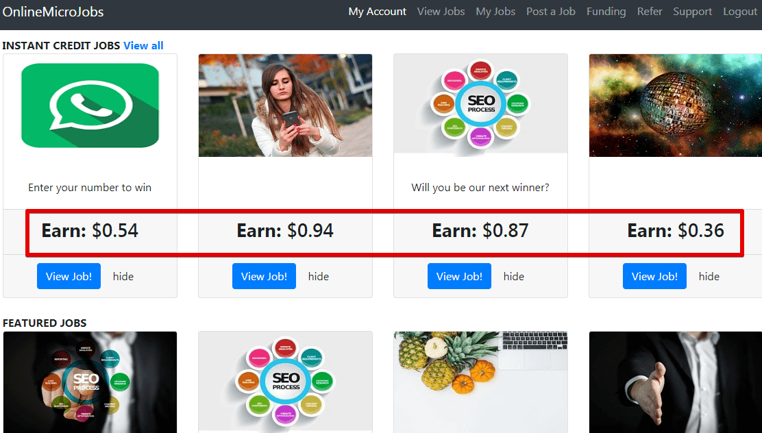 Online micr jobs have really small pay per tasks