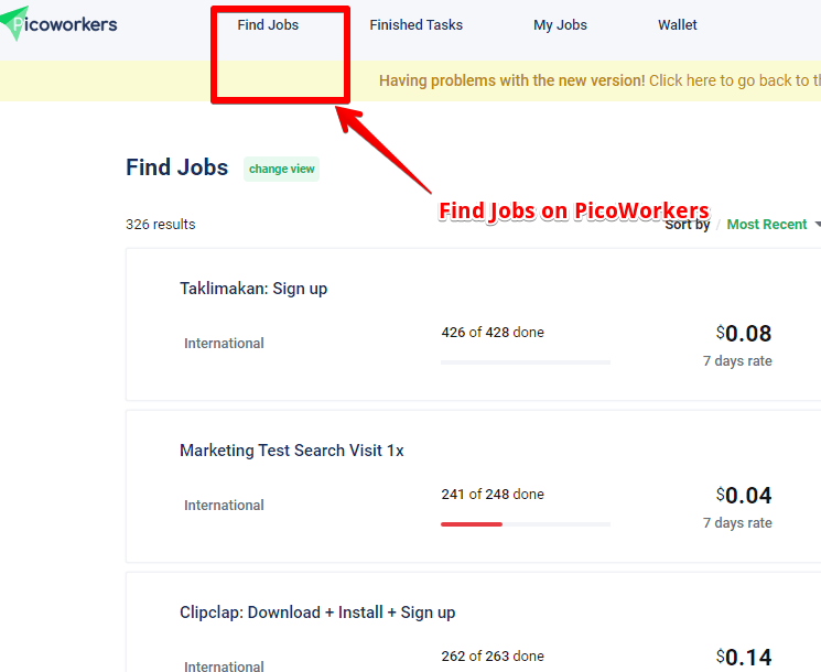 How to find jobs using PicoWorkers