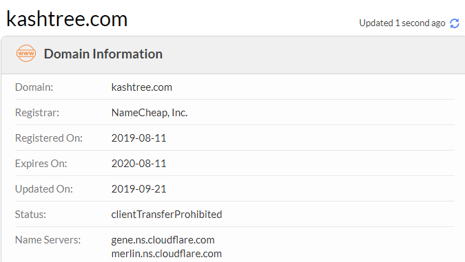 Kashtree s a scam as the domain was only created in 2019