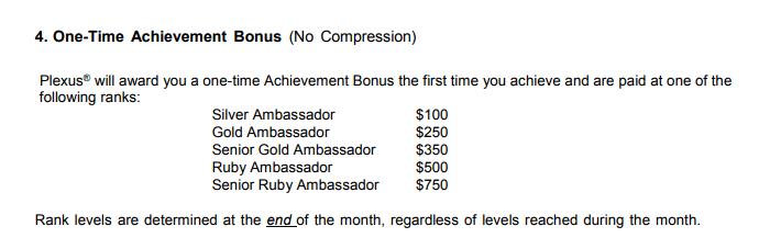 Plexus Worlwide rank achievement bonus