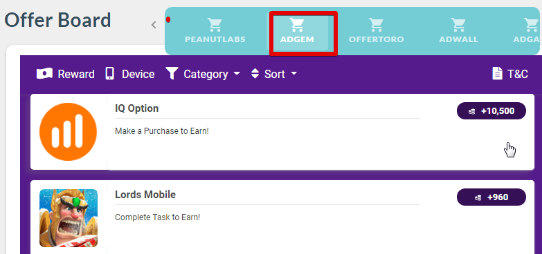 The other tasks available in the Pointclub platform