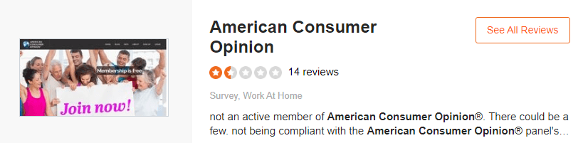 American consumer opinion scored 2.5 stars on third party review site called sitejabber