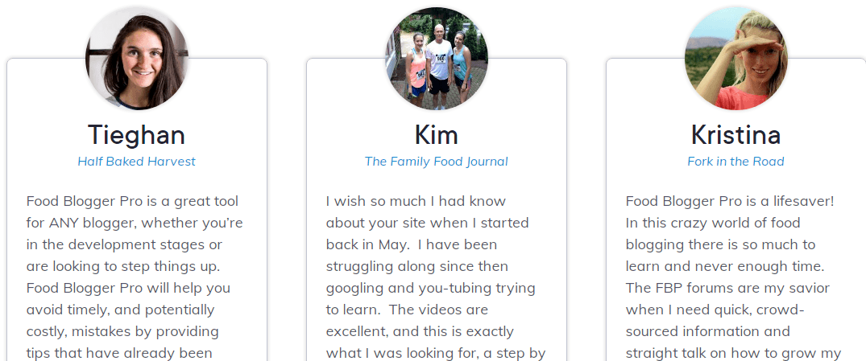 Food Blogger review member testimonials