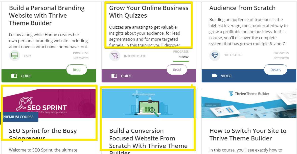 What does the inside of Thrive themes member dashboard looks like