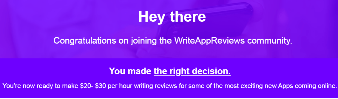 this is the writeappreviews.com welcome message