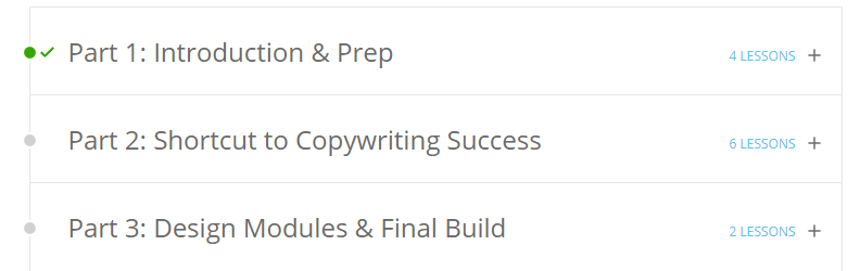 Course outline for the Sales Page Blueprint