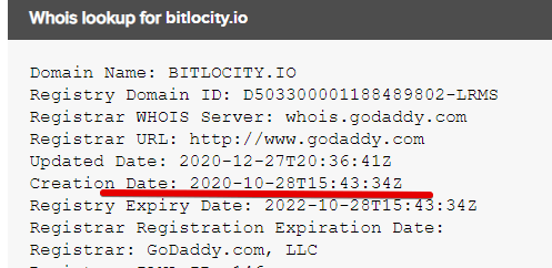 When was the bitlocity io site registered