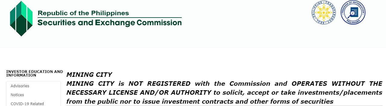 Mining City fraud warning from the SEC