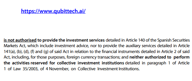 Qubittech issued a securities warning in spain