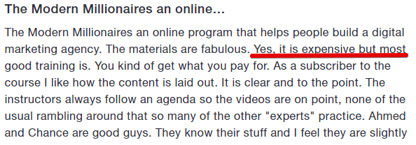 Officeless agency is expensive if you look at what Modern Millionaire member said