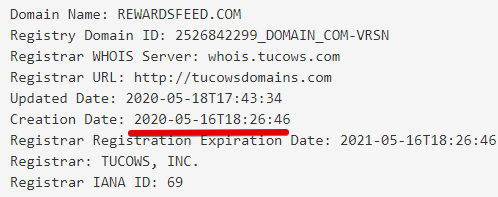 rewardsfeed domain was created on the 16th May