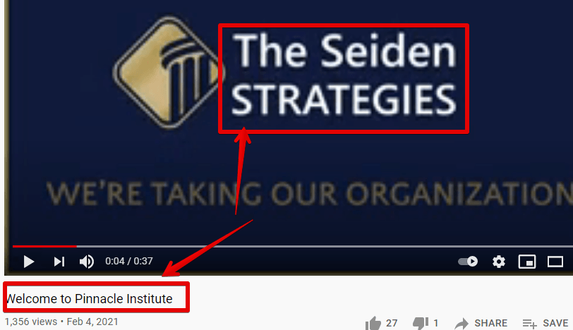 The Pinnacle Institute and the Seiden Strategies are the same same