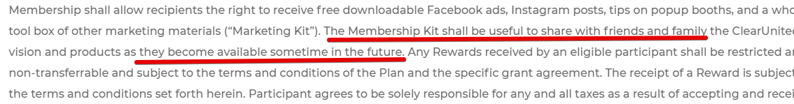 Clearunited is a scam, they do not provide a marketing kit