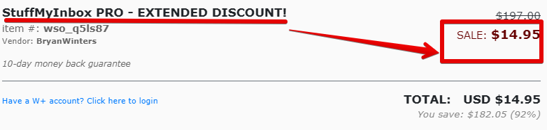 Stuffmyinbox extreme discount is a red flag